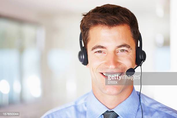 Call center executive wearing a headset with copyspace
