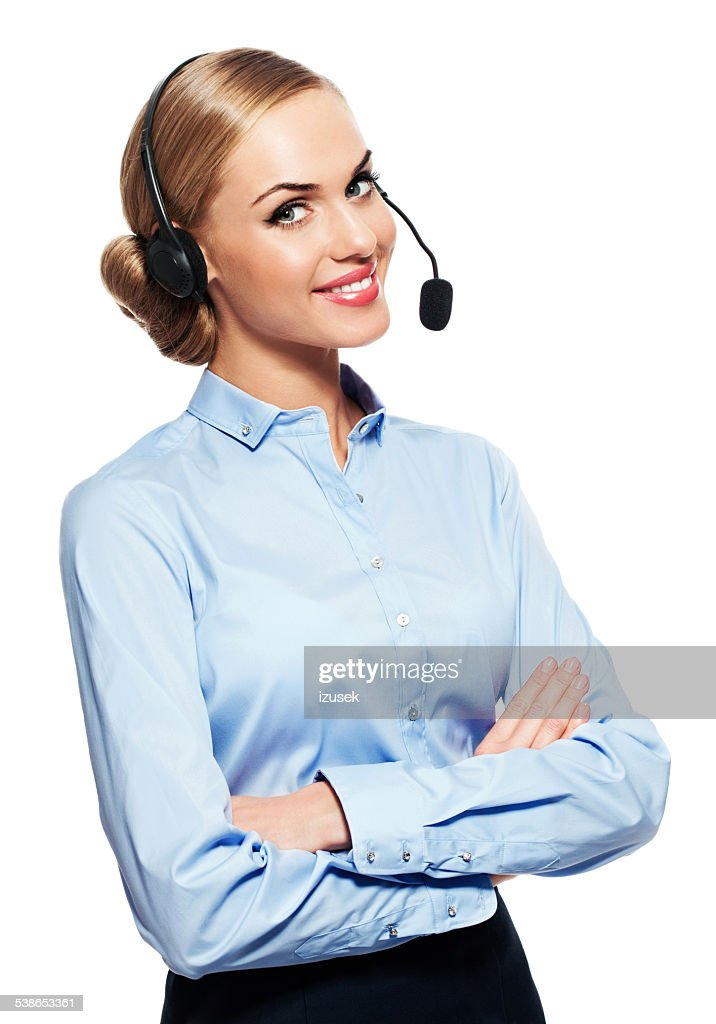 Call center operator with headphone