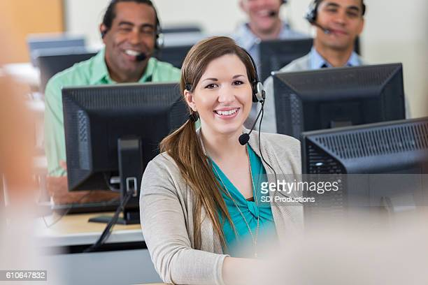 Call center trainee attends training class