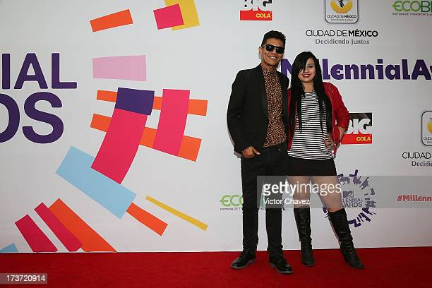 Calladehacha and Sandycoben attends the MTV Millennial Awards 2013 at Foro Corona on July 16 2013 in Mexico City Mexico