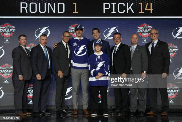 Callan Foote 14th overall of the Tampa Bay Lightning poses for a photo onstage during Round One of the 2017 NHL Draft at United Center on June 23...