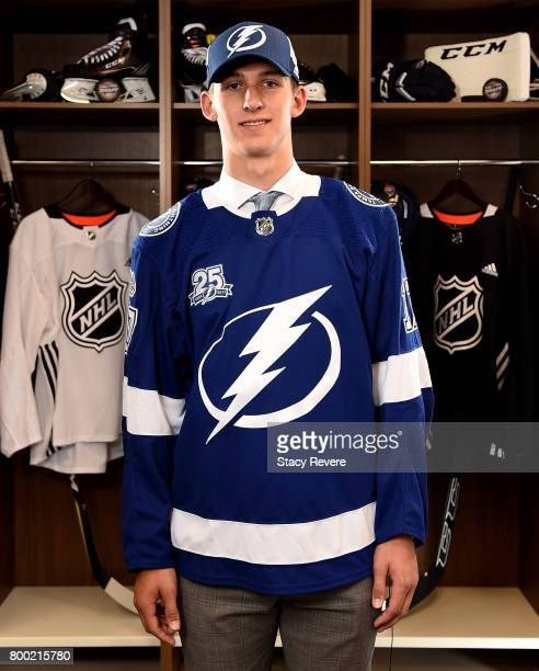Callan Foote poses for a portrait after being selected 14th overall by the Tampa Bay Lightning during the 2017 NHL Draft at the United Center on June...