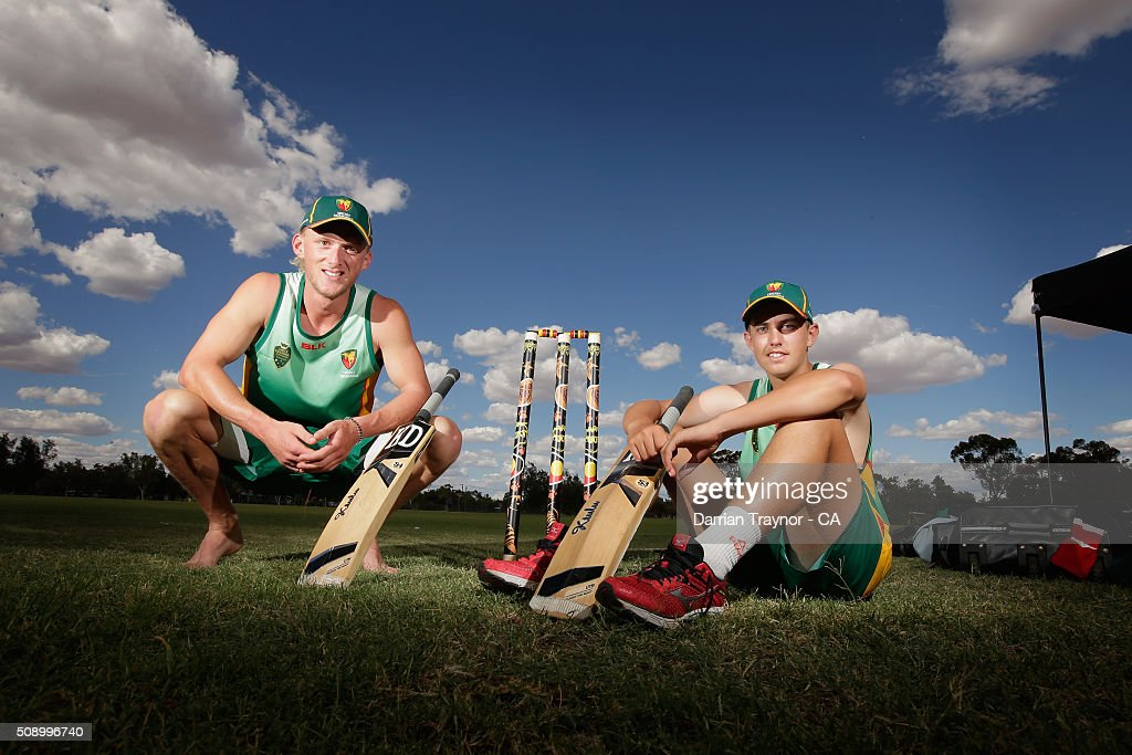 Callan Morse and Rhys French of Tasmania pose for a photo on day 1 of the National Indigenous Cricket Championships on February 8, 2016 in Alice Springs, Australia.