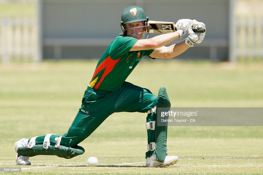 Callan Morse of Tasmania bats against Western Australia during day 2 of the National Indigenous Cricket Championships on February 9, 2016 in Alice Springs, Australia.