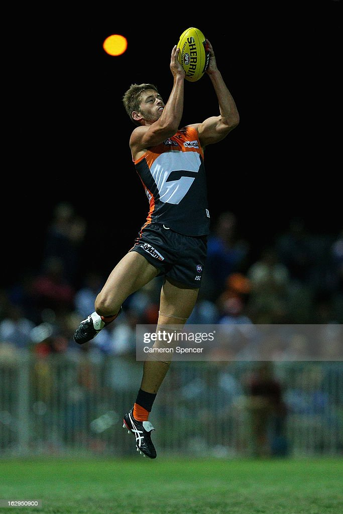 Callan Ward of the Giants marks during the round two AFL NAB Cup match between the Greater Western Sydney Giants and the Brisbane Lions at the Robertson Oval in Wagga Wagga, Australia.