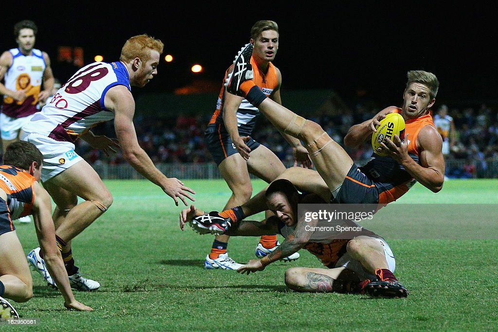 Callan Ward of the Giants marks the ball during the round two AFL NAB Cup match between the Greater Western Sydney Giants and the Brisbane Lions at the Robertson Oval in Wagga Wagga, Australia.