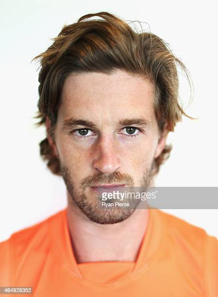 Callan Ward of the Giants poses during a Greater Western Sydney Giants AFL portrait session on March 2 2015 in Sydney Australia