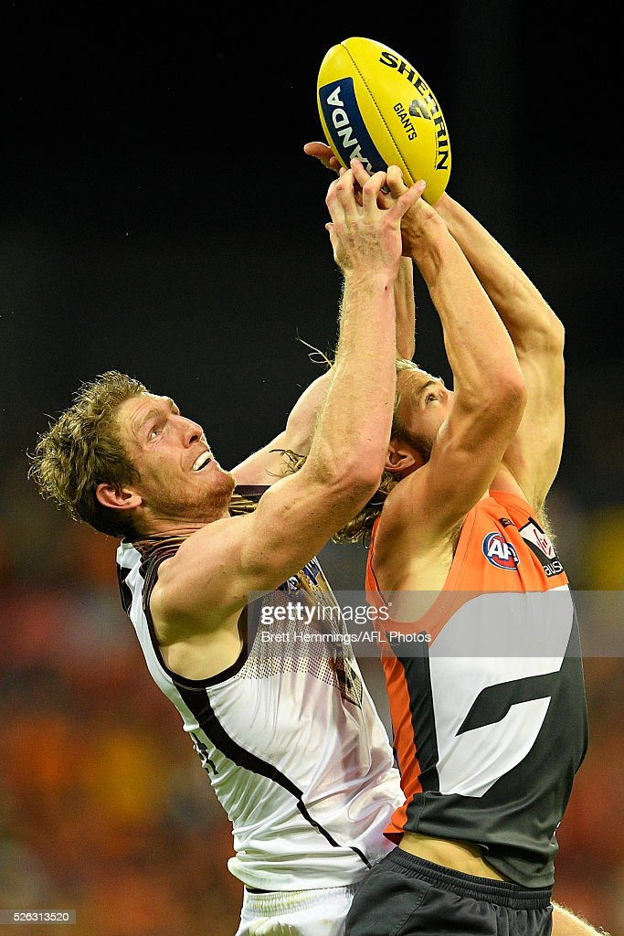 Callan Ward of the Giants takes a mark during the round six AFL match between the Greater Western Sydney Giants and the Hawthorn Hawks at Spotless Stadium on April 30, 2016 in Sydney, Australia.