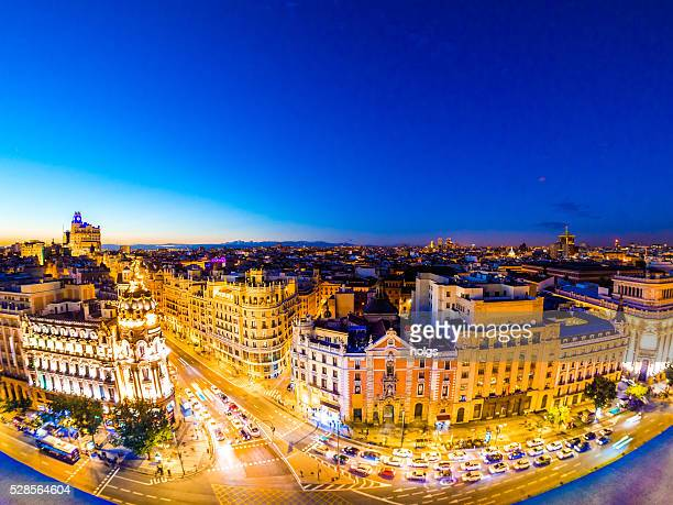 Calle de Alcala in Madrid, Spain at night