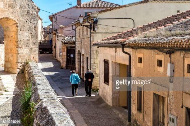 Calle de Arriba in Maderuelo medieval village, Segovia, Spain