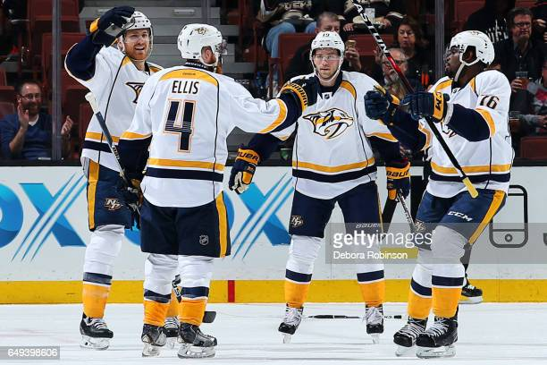 Calle Jarnkrok Colin Wilson Ryan Ellis and PK Subban of the Nashville Predators celebrate Ellis' first period goal during the game against the...