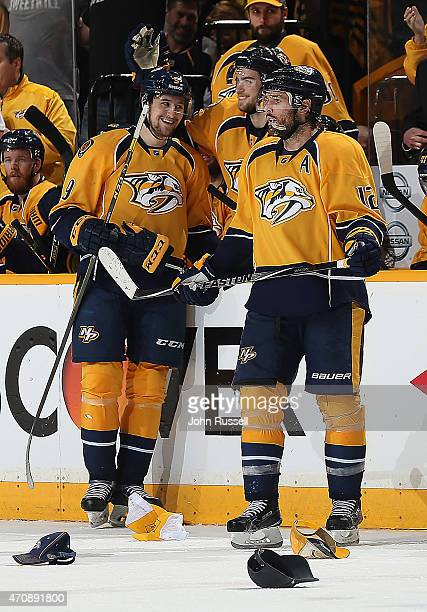 Calle Jarnkrok congratulates Filip Forsberg of the Nashville Predators on his first NHL hat trick against the Chicago Blackhawks in Game Five of the...