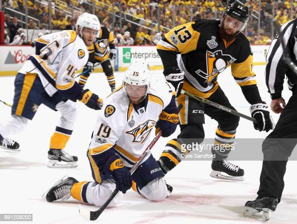 Calle Jarnkrok of the Nashville Predators plays in the third period of Game Two of the 2017 NHL Stanley Cup Final against Nick Bonino of the...