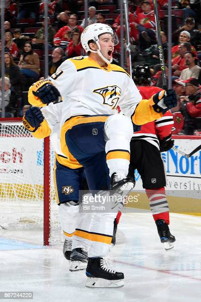 Calle Jarnkrok of the Nashville Predators reacts after scoring against the Chicago Blackhawks in the second period at the United Center on October 27...