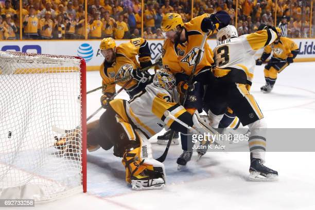 Calle Jarnkrok of the Nashville Predators scores a goal against Matt Murray of the Pittsburgh Penguins during the first period in Game Four of the...