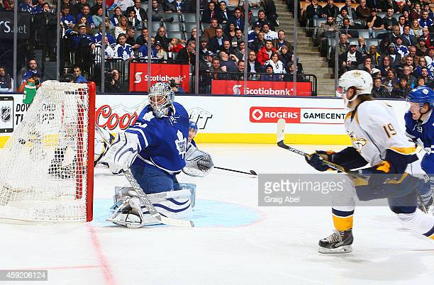 Calle Jarnkrok of the Nashville Predators scores on James Reimer of the Toronto Maple Leafs during NHL game action November 18 2014 at the Air Canada...