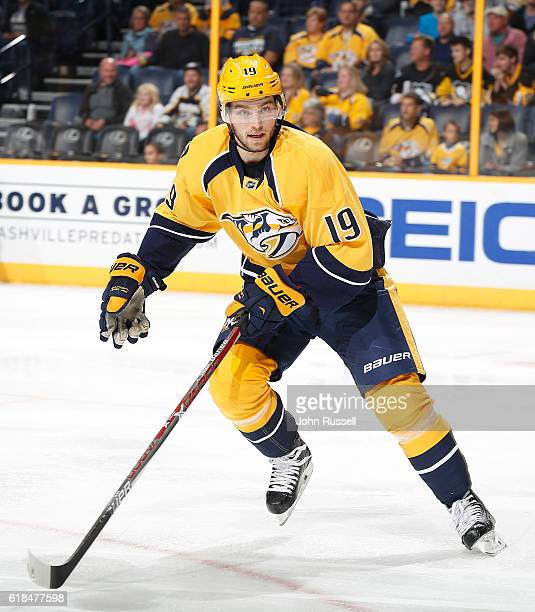 Calle Jarnkrok of the Nashville Predators skates against the Pittsburgh Penguins during an NHL game at Bridgestone Arena on October 22 2016 in...