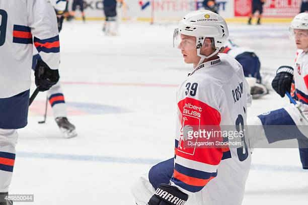 Calle Rosen during the warm up before Champions Hockey League round of thirtytwo game between Djurgarden Stockholm and Vaxjo Lakers at Hovet Arena on...