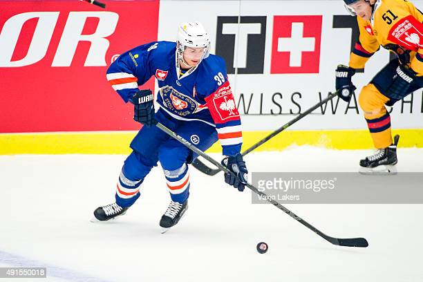Calle Rosen of Vaxjo during the Champions Hockey League round of thirtytwo game between Vaxjo Lakers and Djurgarden Stockholm at Vida Arena on...