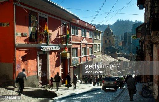Calle Sagarnaga, La Paz, Bolivia : Stock Photo