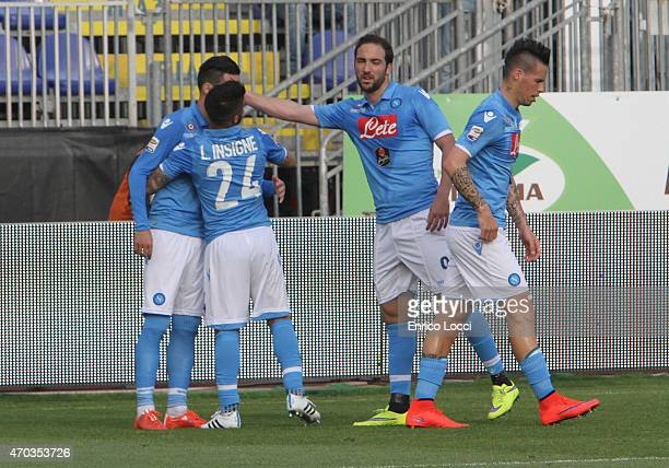 Callejon Josè Maria of Napoli celebrated with the teammates the goal 01 during the Serie A match between at Stadio Sant'Elia on April 19 2015 in...