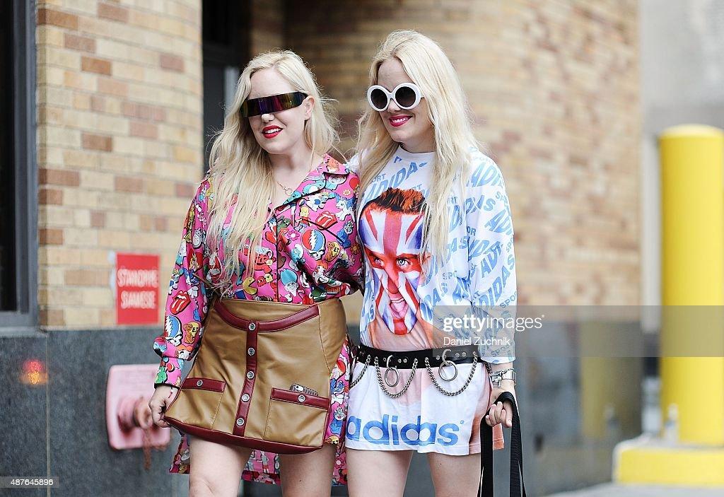 Calli Beckerman is seen outside the Josie Natori show wearing a DatPrintDoe top Chanel skirt and Dolorous jewelry while sister Sam Beckerman wears a...