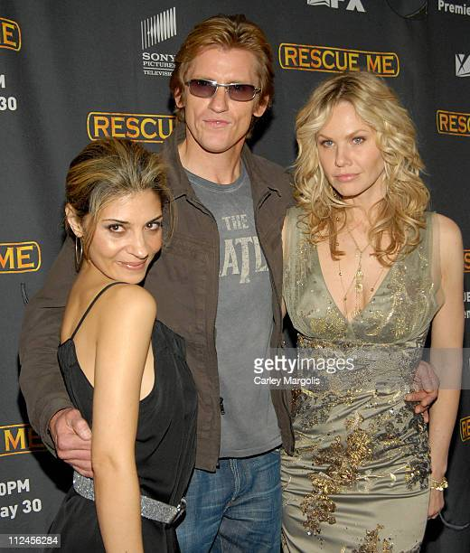 Callie Thorne Denis Leary and Andrea Roth during 'Rescue Me' Season Three New York Premiere at Ziegfeld Theater in New York City New York United...