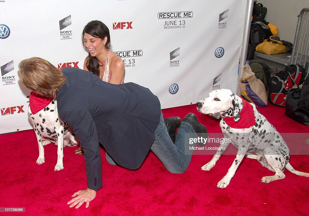 Callie Thorne Denis Leary and dalmatians during 'Rescue Me' Premiere Arrivals at AMC Theatre Times Square in New York City New York United States