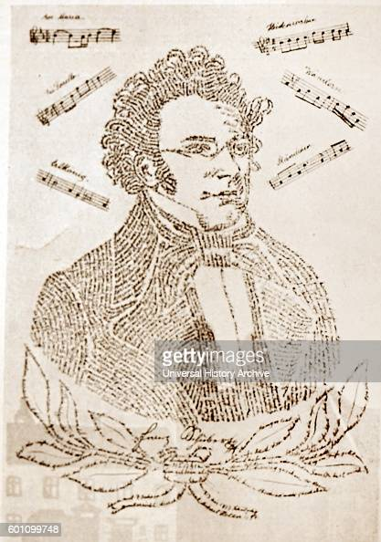 Calligraphic portrait of Franz Schubert an Austrian composer consisting of the biography and bibliography Dated 19th Century