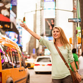 Calling a taxi on times square - NYC