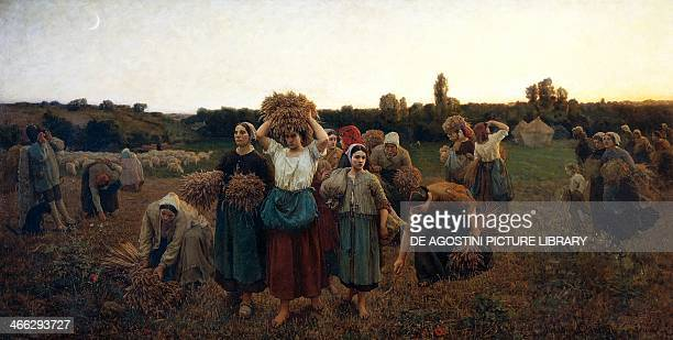 Calling in the gleaners painting by Jules Breton oil on canvas 90x176 cm