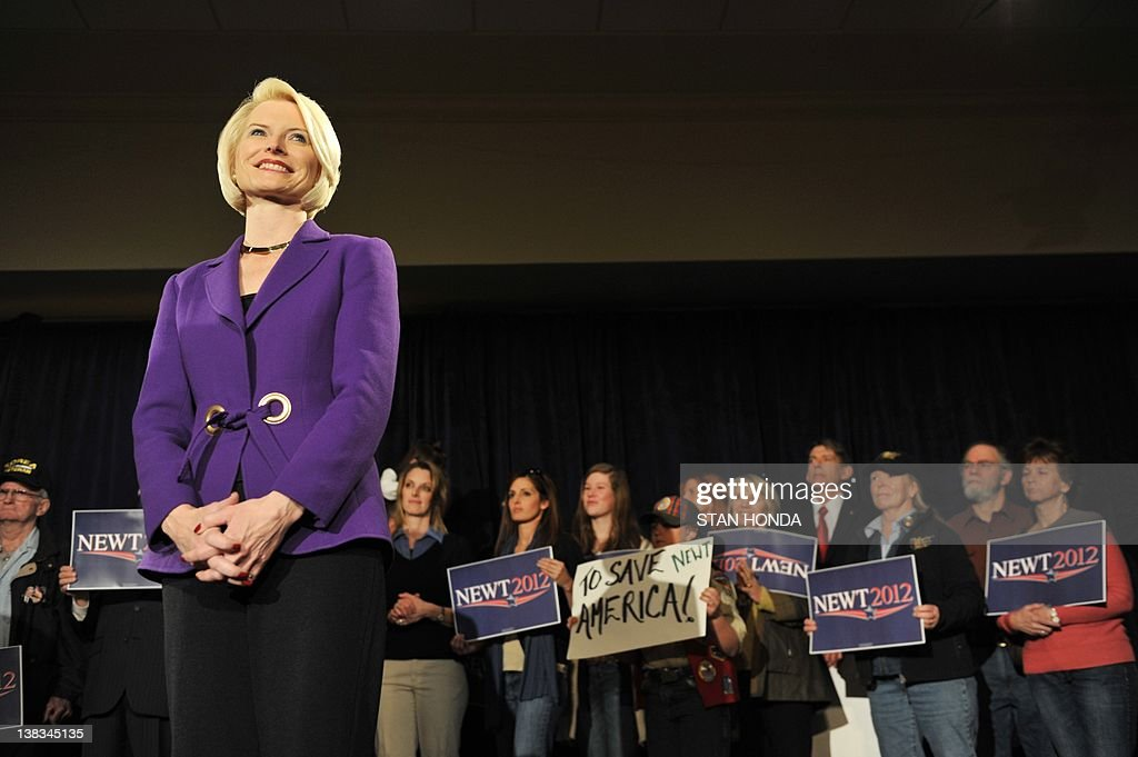 Callista Gingrich, wife of Republican presidential hopeful Newt Gingrich, smiles at a rally February 6, 2012 in Golden, Colorado. AFP PHOTO/Stan HONDA