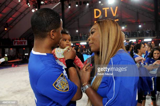 AJ Calloway Amy Belle Calloway and Serena Williams attend the DirecTV Beach Bowl at Pier 40 on February 1 2014 in New York City