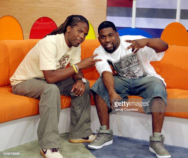 AJ Calloway and David Banner during Terrence Howard and David Banner Visit BET's '106 Park' July 18 2005 at BET's '106 Park' Studios in New York City...