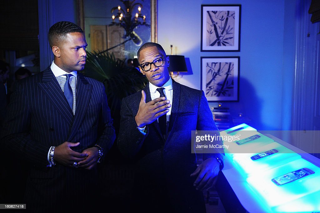 "AJ Calloway (L) and Jamie Foxx at the Samsung Galaxy ""Shangri-La"" Party on February 2, 2013 in New Orleans, Louisiana."