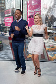 Calloway and Kym Johnson dance on the set of 'Extra' at their New York studios at HM in Times Square on January 19 2016 in New York City