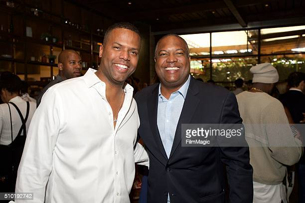 AJ Calloway and Rodney Peete attend the LA Reid 'Sing To Me' PreGrammy Brunch at Hinoki The Bird on February 13 2016 in Los Angeles California
