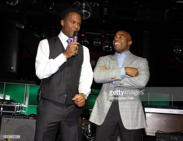 AJ Calloway and Tiki Barber during 'Playing for Laughs' A Benefit to Build a Playground for the Junius Street Women In Need Shelter at Pacha...