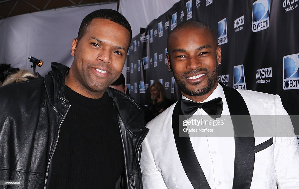 AJ Calloway (L) and <a gi-track='captionPersonalityLinkClicked' href=/galleries/search?phrase=Tyson+Beckford&family=editorial&specificpeople=210873 ng-click='$event.stopPropagation()'>Tyson Beckford</a> attend the DirecTV Super Saturday Night at Pier 40 on February 1, 2014 in New York City.
