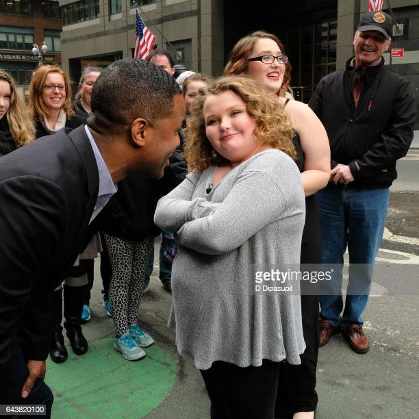 AJ Calloway interviews Alana 'Honey Boo Boo' Thompson and Lauryn 'Pumpkin' Shannon during their visit to 'Extra' in Times Square on February 22 2017...