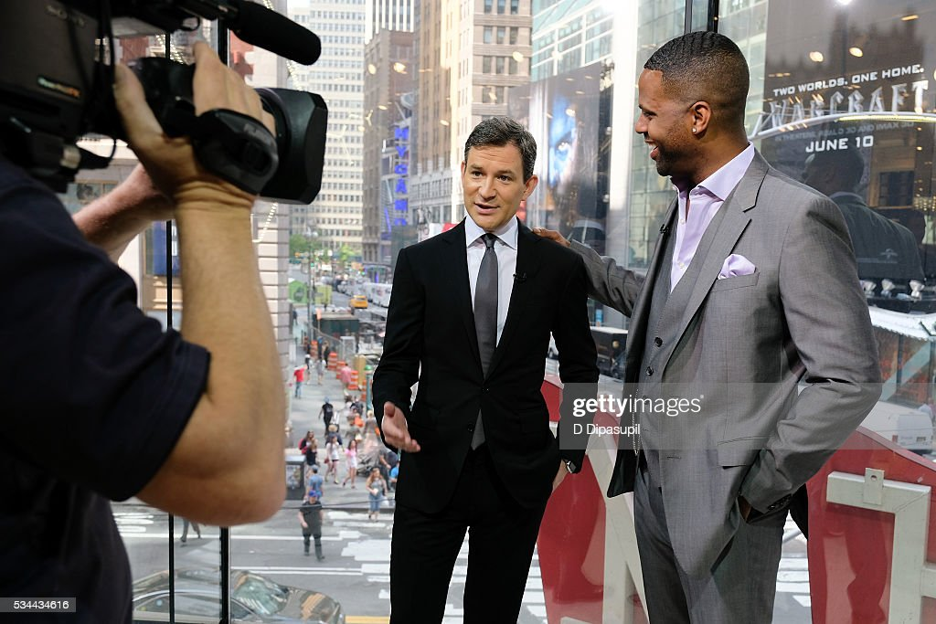 AJ Calloway (R) interviews Dan Harris during his visit to 'Extra' at their New York studios at H&M in Times Square on May 26, 2016 in New York City.