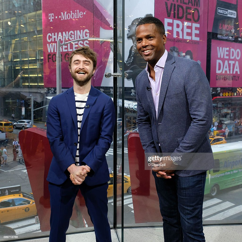 Calloway interviews Daniel Radcliffe during his visit to 'Extra' at their New York studios at HM in Times Square on August 15 2016 in New York City