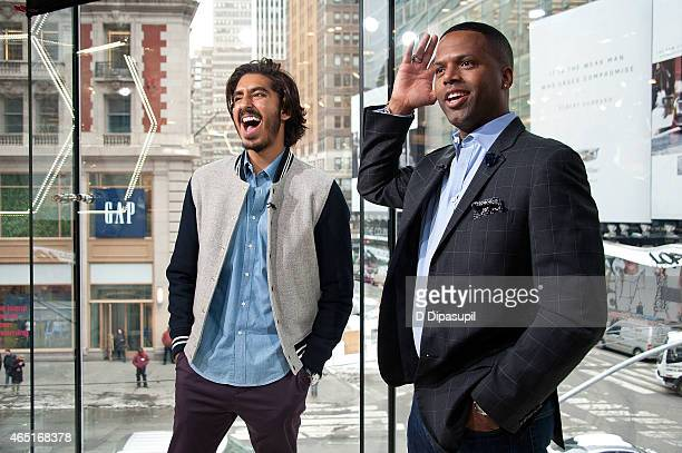 Calloway interviews Dev Patel during his visit to 'Extra' at their New York studios at HM in Times Square on March 3 2015 in New York City