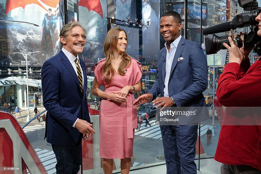AJ Calloway interviews Edyta Sliwinska and Geraldo Rivera during their visit to 'Extra' at their New York studios at HM in Times Square on March 9...