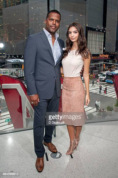 Calloway interviews Emily Ratajkowski during her visit to 'Extra' at their New York studios at HM in Times Square on August 18 2015 in New York City
