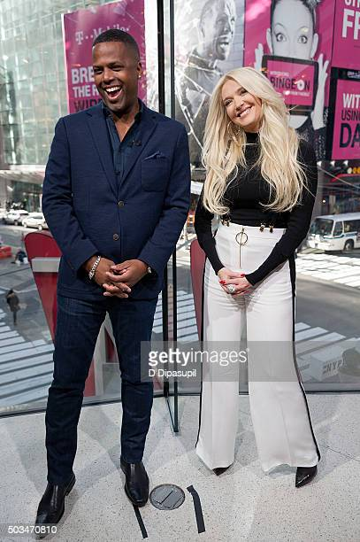 Calloway interviews Erika Girardi during her visit to 'Extra' at their New York studios at HM in Times Square on January 5 2016 in New York City