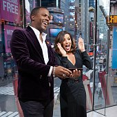 Calloway interviews Eva Longoria during her visit to 'Extra' at their New York studios at HM in Times Square on January 4 2016 in New York City