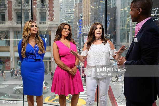 AJ Calloway interviews Jacqueline Laurita Dolores Catania and Siggy Flicker during their visit to 'Extra' at their New York studios at HM in Times...