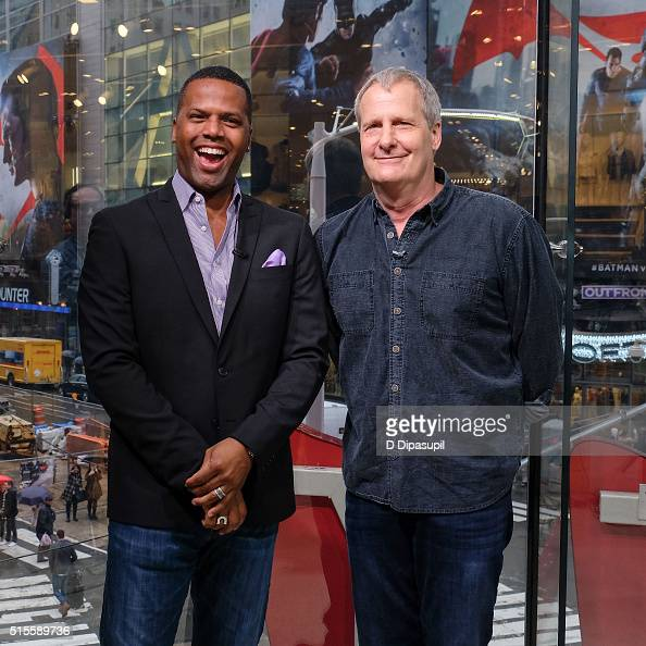 Calloway interviews Jeff Daniels during his visit to 'Extra' at their New York studios at HM in Times Square on March 14 2016 in New York City