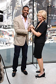 Calloway interviews Joan Lunden during her visit to 'Extra' at their New York studios at HM in Times Square on June 10 2015 in New York City